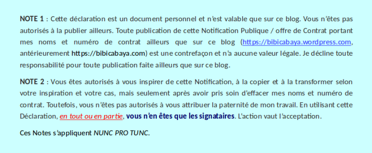 Notes 1 & 2 – Notification Publique