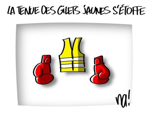 gilet jaune et gants de boxe (na!)