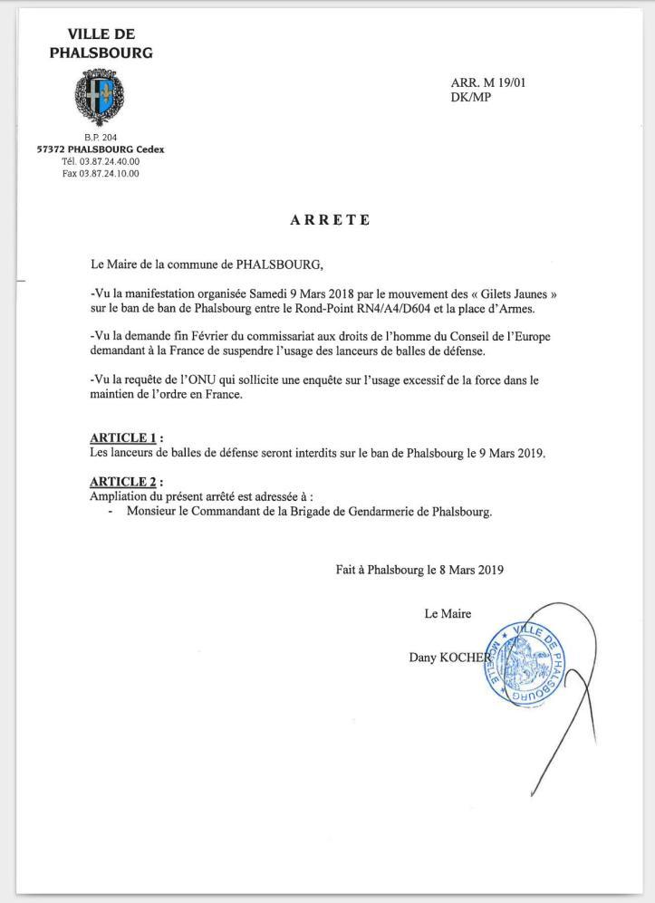 Arrêté municipal LBD40