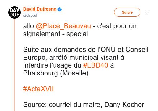 Twitter David Dufresne re LBD40