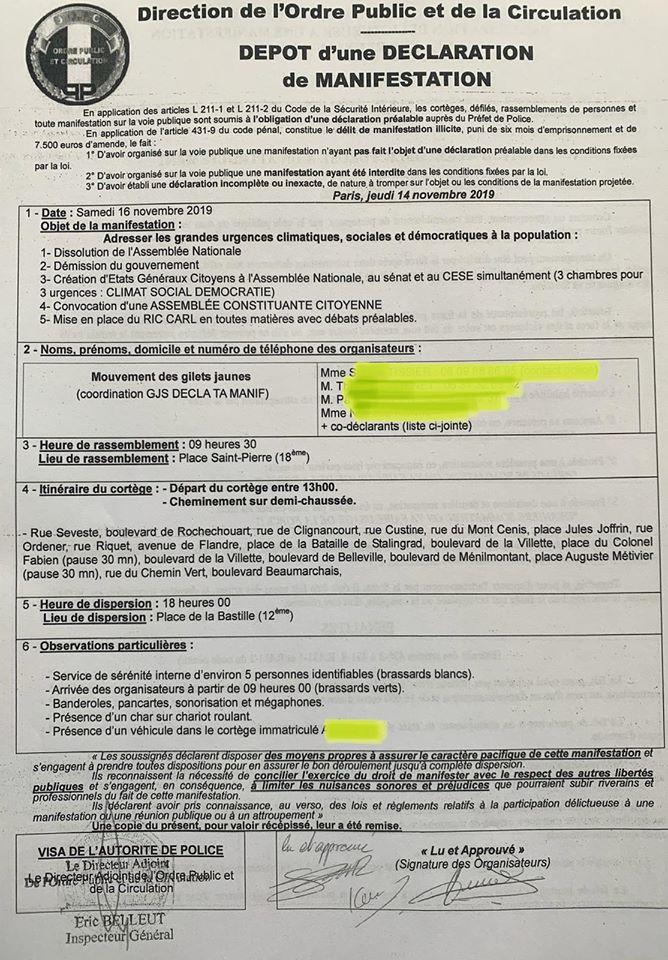 Doc officiel - depot declaration manifestation