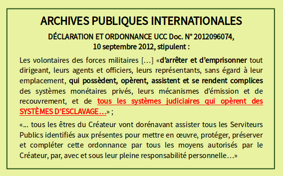 DÉCLARATION ET ORDONNANCE UCC Doc. N°2012096074,