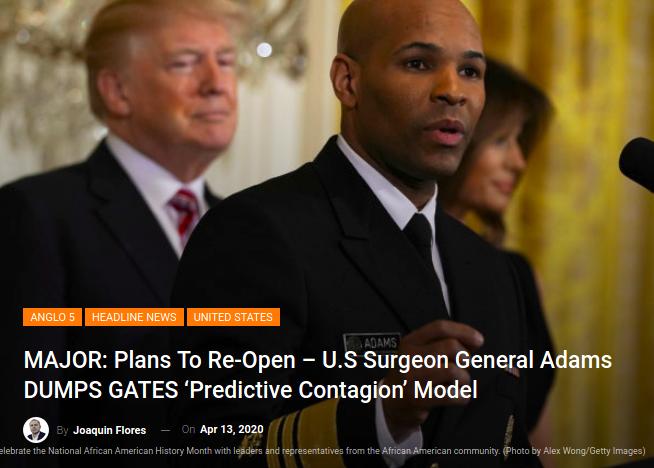 Dr. Jerome Adams, Vice Amiral et Chef des Services de Santé américains (with Trump)