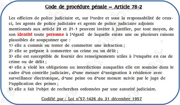 Carte - Code de procédure pénale – Article 78-2