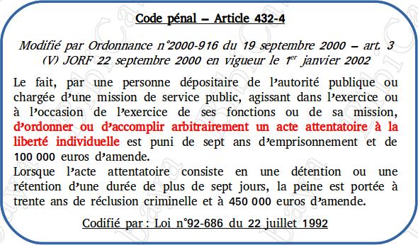 Carte - Code pénal – Article 432-4
