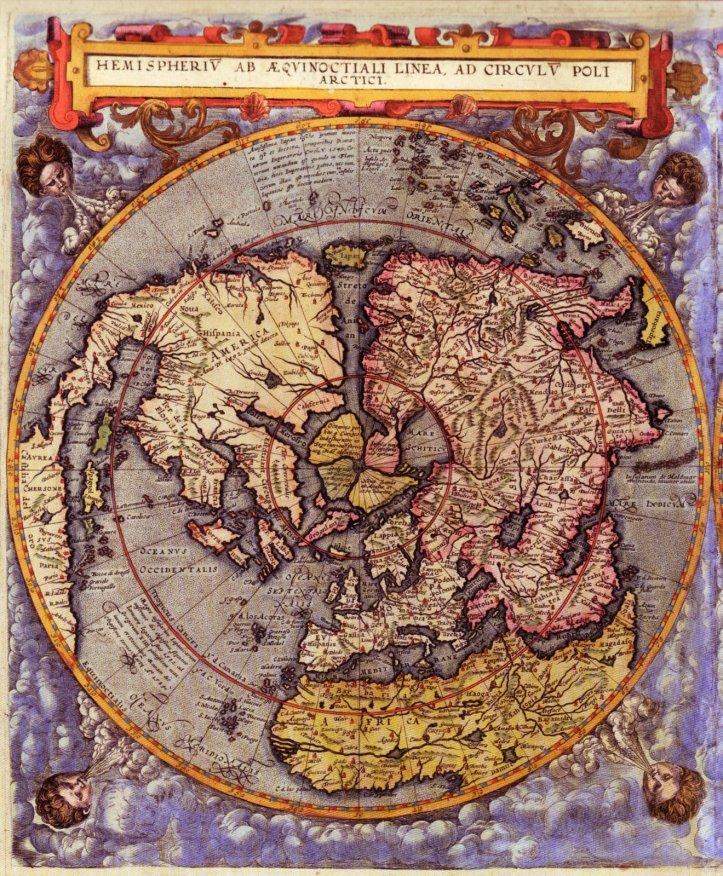 Carte du monde du 16è s. montrant les terres non gelées du Pôle Nord