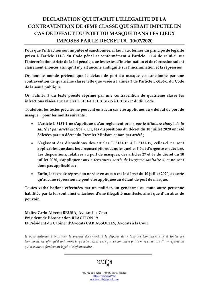 Déclaration établissant l'illégalité de la contravention en cas de défaut de port du masque.