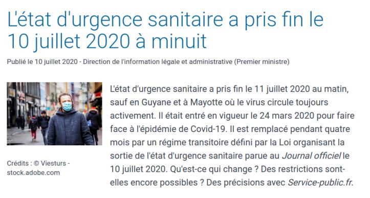 Fin de l'état d'urgence en France